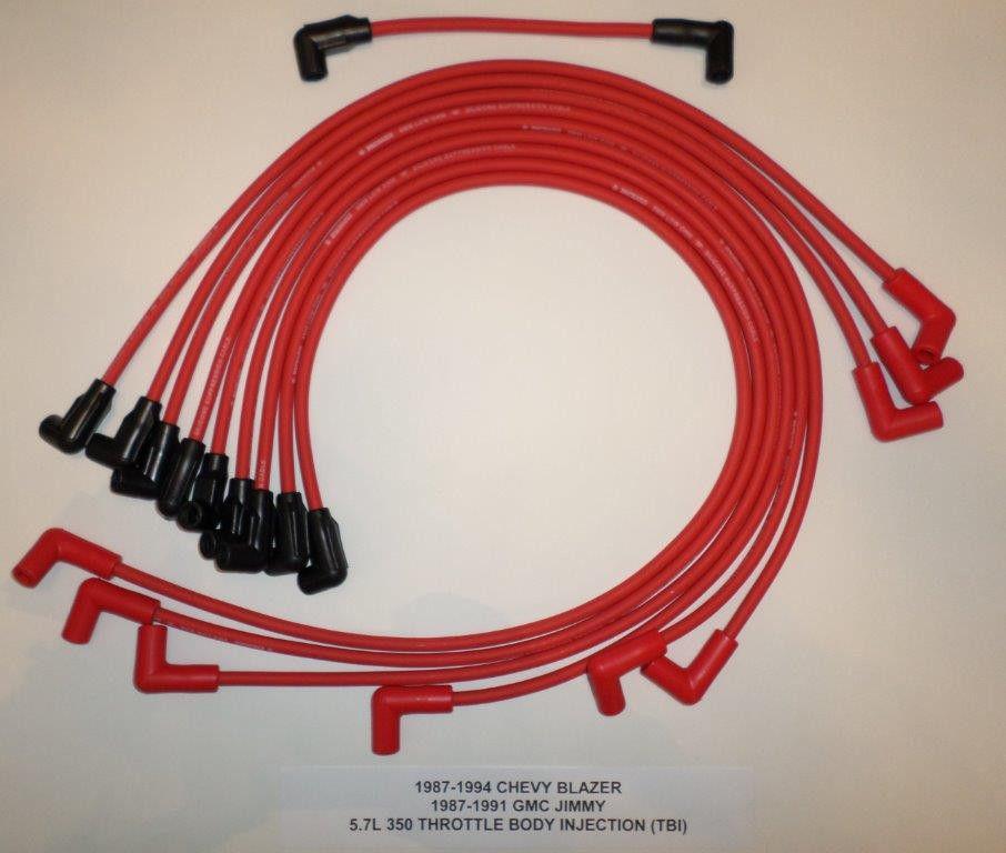 RED SPARK PLUG WIRES 1987-1994 CHEVY BLAZER GMC JIMMY 5.7L 350 TBI DISTRIBUTOR