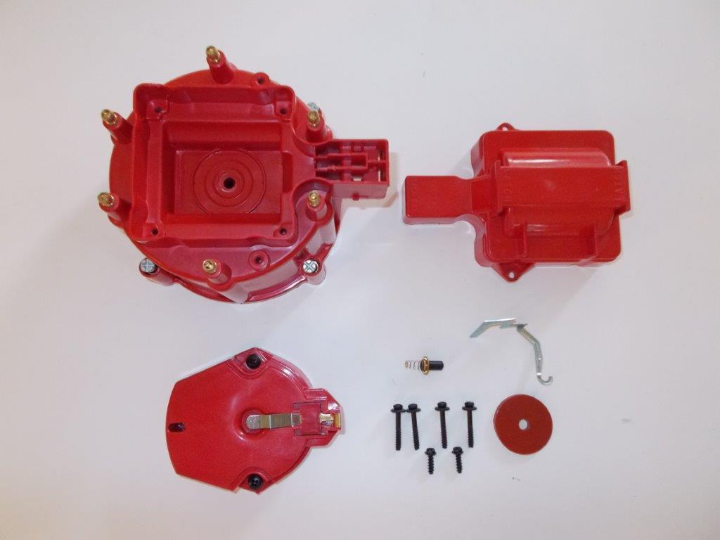 6 Cylinder Hei Distributor Cap Coil Cover Amp Rotor Kit Red