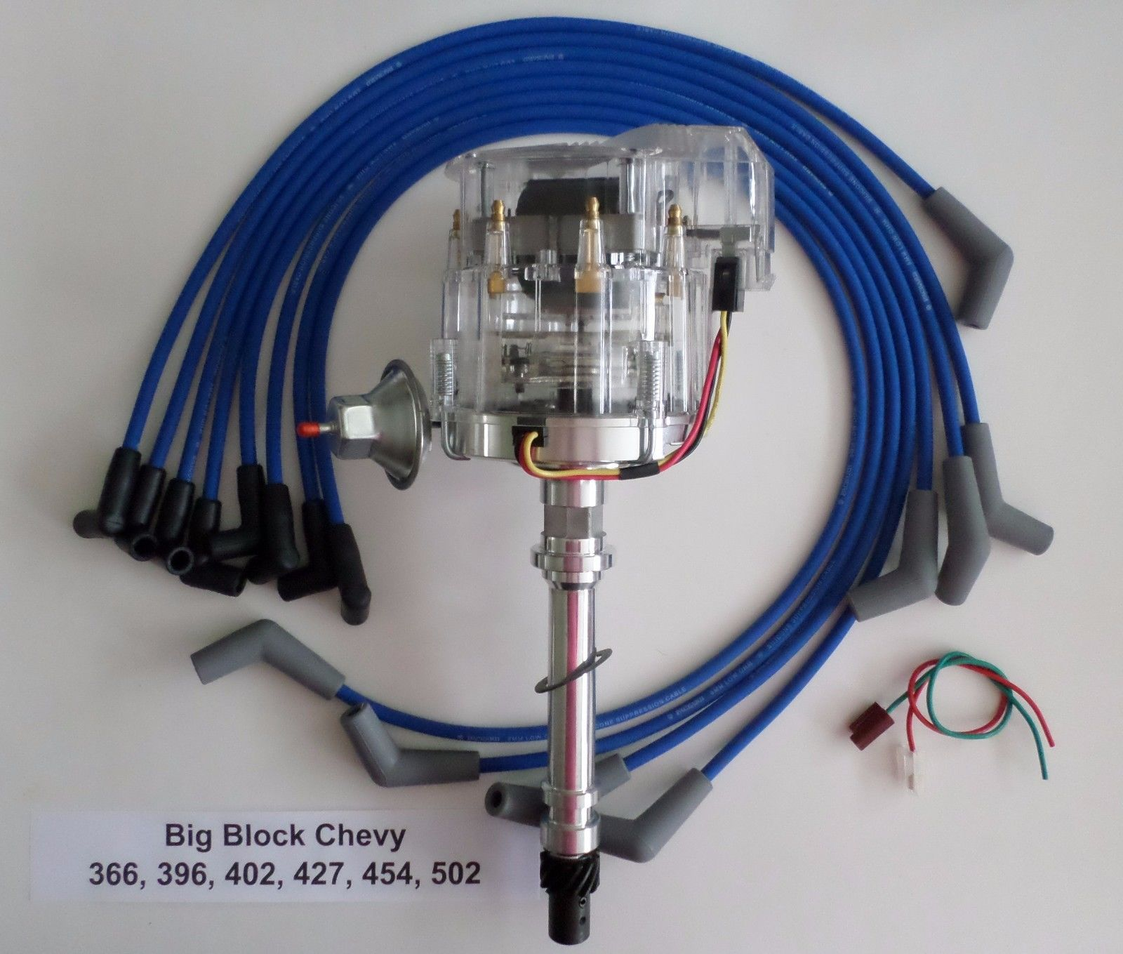 [FPWZ_2684]  BIG BLOCK 396, 427 & 496 CHEVY CLEAR Cap HEI Distributor & BLUE PLUG WIRES  45 DEGREE - SwapMeetParts | Big Block Chevy Ignition Wiring |  | SwapMeetParts