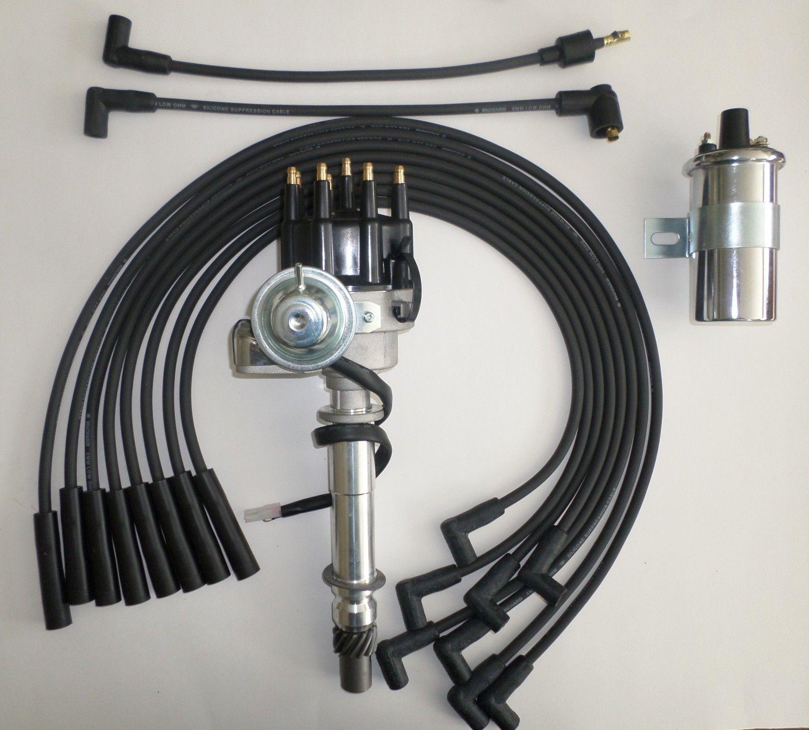 CHEVY BIG BLOCK 396-454 BLACK Small HEI Distributor 50K COIL PLUG WIRES-180s