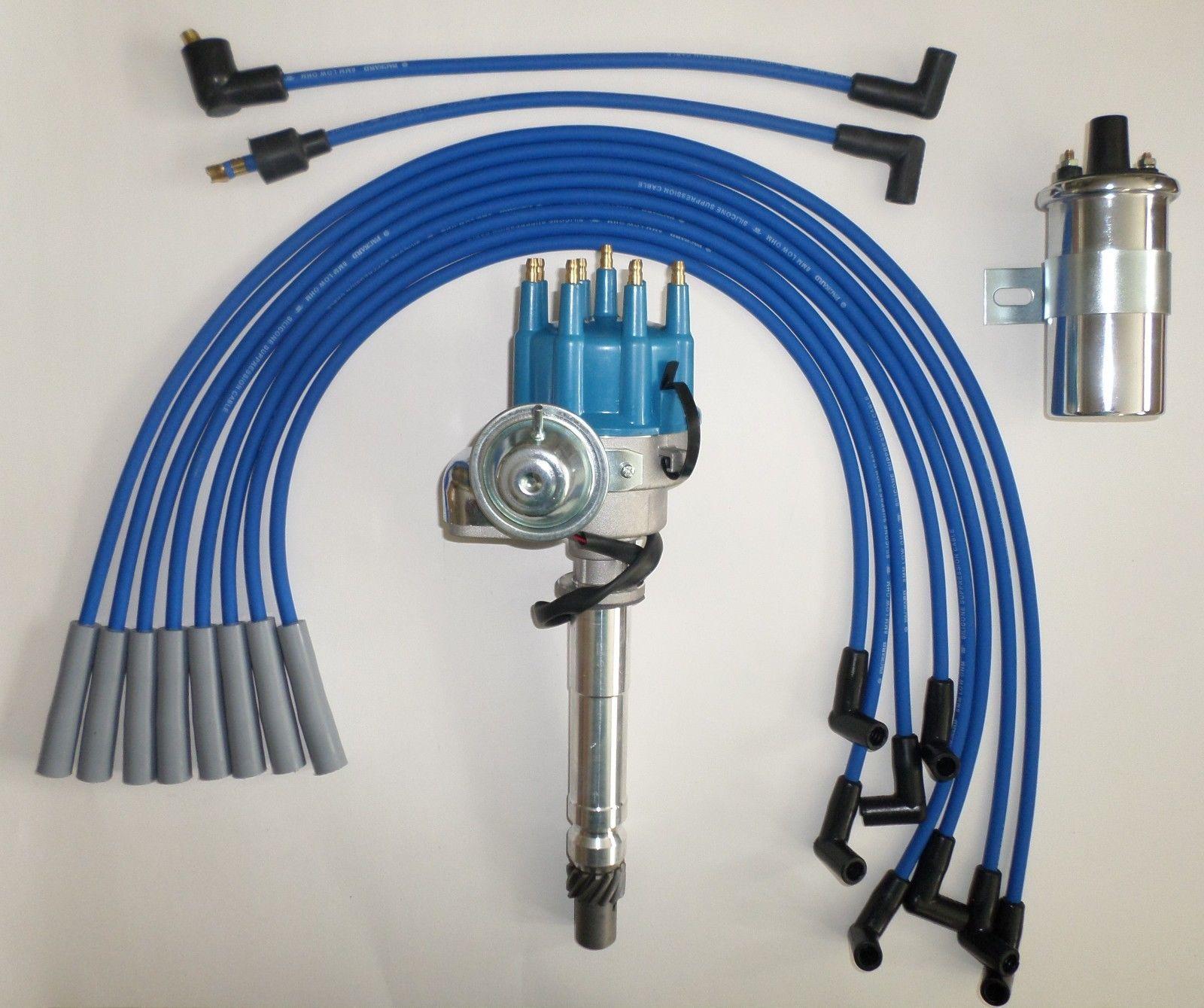 BIG BLOCK CHEVY BLUE 396-427-454 Small HEI Distributor 45K Coil PLUG WIRES-180s  - SwapMeetPartsSwapMeetParts