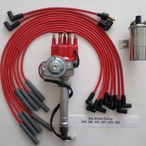CHEVY 327 350 396 427 454 RED FEMALE Small Cap HEI Distributor CHROME 60K COIL