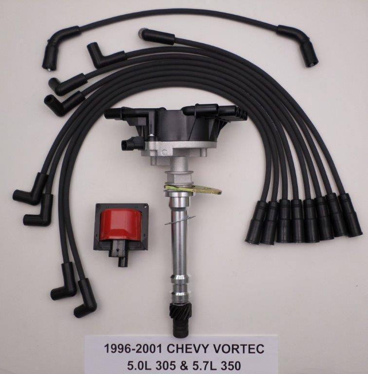 CHEVY VORTEC 96-01 5.7L/350 5.0L/305 Distributor COIL BLACK Spark Plug Wires  - SwapMeetParts | Chevy 305 Distributor Wiring |  | SwapMeetParts