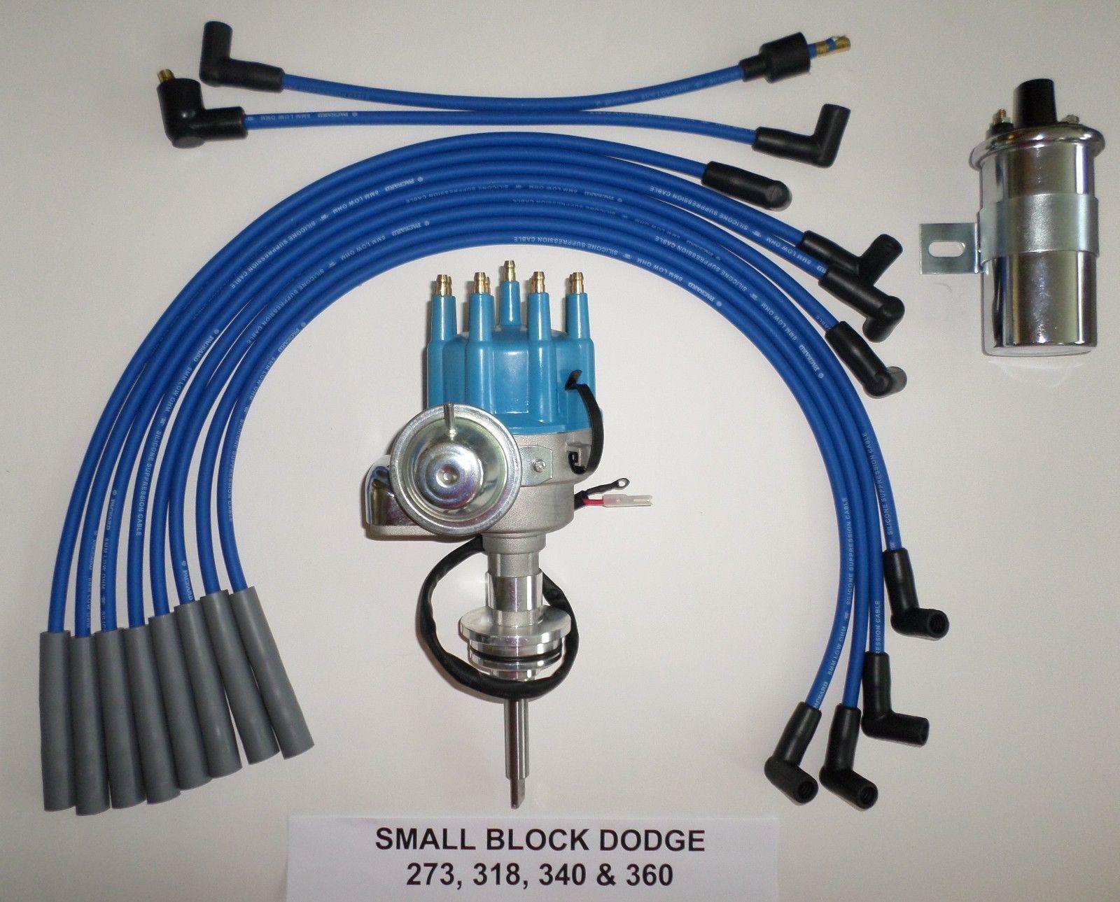 45K Round Coil SB Chevy SBC Small Cap H.E.I Distributor Kit W// Plug Wires