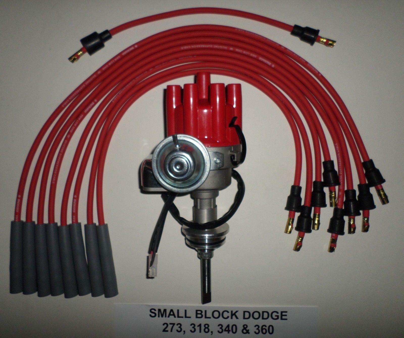 MOPAR 273-318-340-360 RED Small Female HEI Distributor+45K Coil+Spark Plug Wires