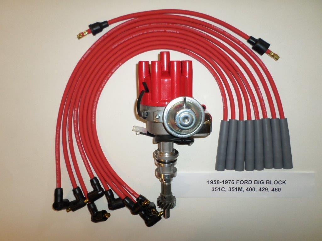 FORD 351C-400M-429-460 RED Electronic Small Cap HEI Distributor-SPARK PLUG  WIRES
