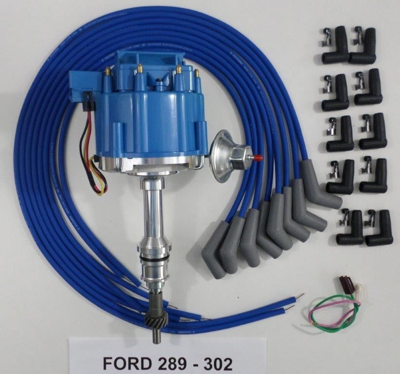 SMALL BLOCK FORD 289-302 BLUE Small HEI Distributor 45K COIL BLUE 8MM WIRES