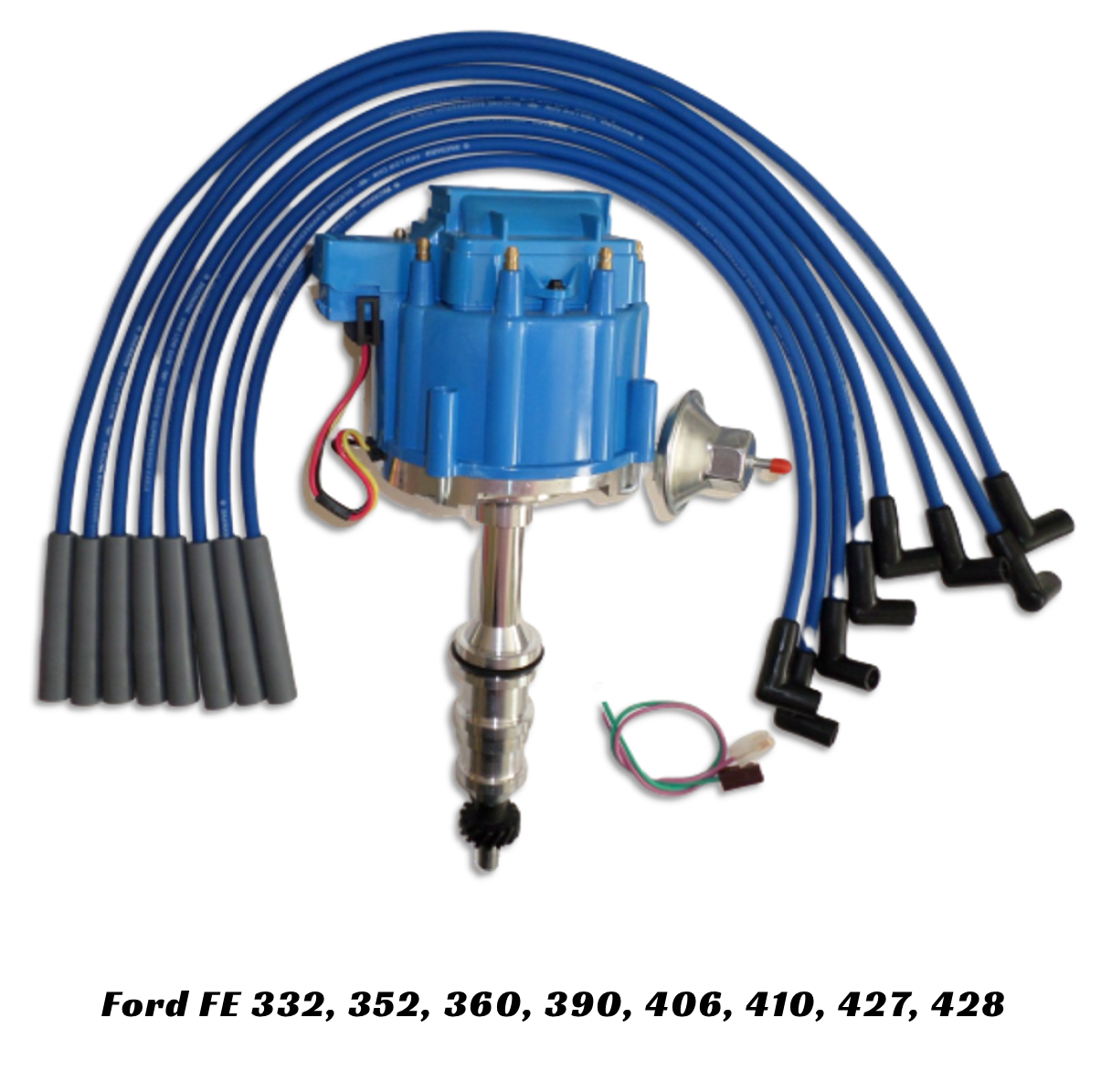 ford fe hei distributor with made in the usa spark plug wires blue  swapmeetparts