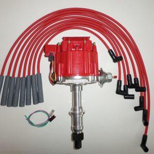 Red Cap Pontiac HEI Distributor with spark plug wires