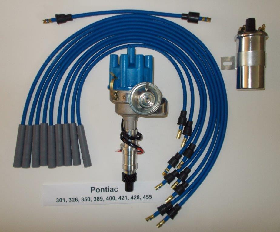 PONTIAC 350-389-400-455 BLUE Small Electronic Distributor 45K Coil PLUG  WIRES - SwapMeetPartsSwapMeetParts