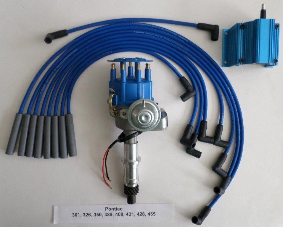 PONTIAC BLUE Small Cap HEI READY-TO-RUN DISTRIBUTOR, Spark Plug Wires & 50K  coil - SwapMeetParts