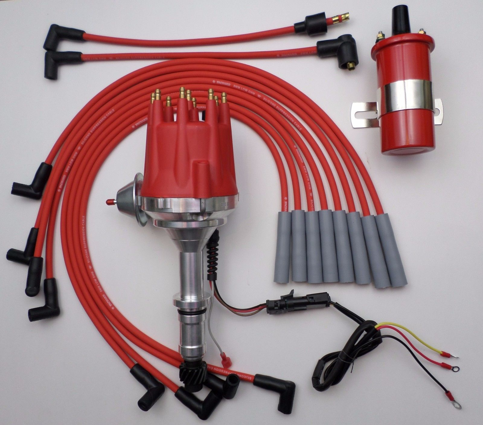 FORD Small Block 289-302-351W HEI RED 8mm SILICONE Spark Plug Wires made USA