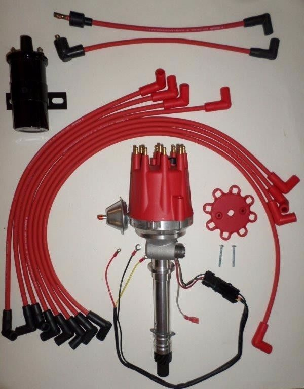 Small Cap CORVETTE Tach Drive RED HEI Distributor Black 45K Coil wires over  VC