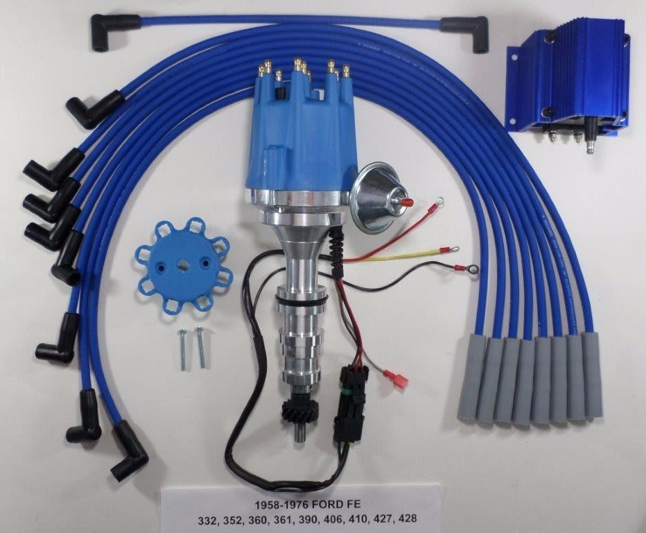 Coil /& Spark Plug Wires Small Cap FORD FE 352-390-427-428 BLUE HEI Distributor
