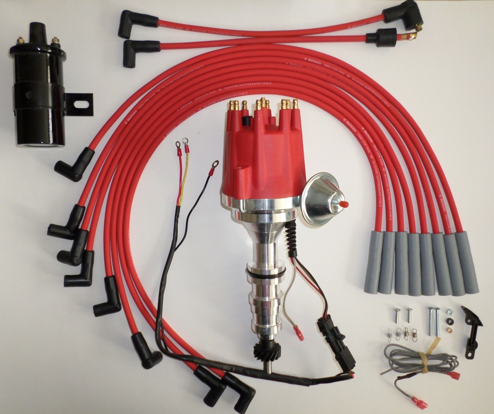 small cap ford fe 352, 390, 427 & 428 red hei distributor 45k coil spark  plug wires - swapmeetparts  swapmeetparts