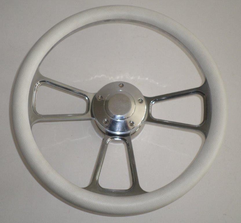White Half Wrap 14 Quot Billet Aluminum Steering Wheel Kit Hub