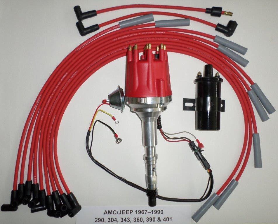 small cap AMC JEEP 290, 304, 360, 390, 401 HEI Distributor Black 45K Volt  Coil Plug Wires - SwapMeetParts