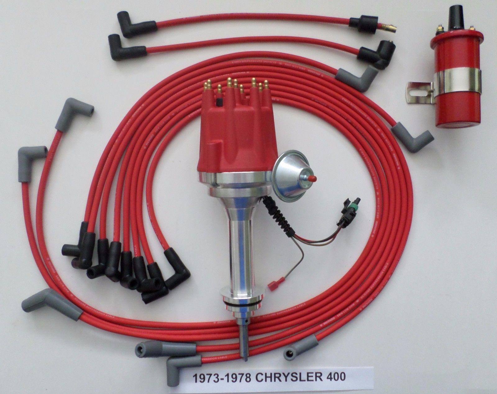 PLYMOUTH 440 73-78 BLACK Small Female HEI Distributor 45K Coil+Spark Plug Wires