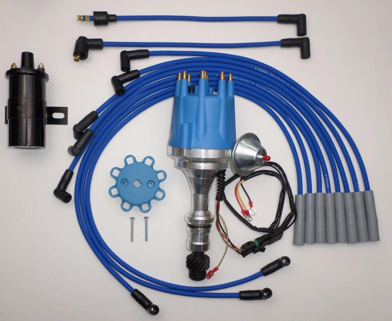 small cap oldsmobile 350,400,403,455 blue hei distributor 45k black coil  plug wires - swapmeetparts  swapmeetparts