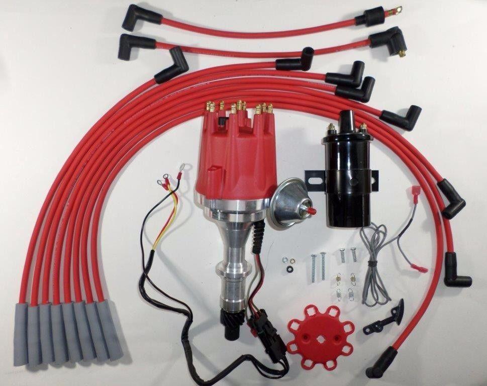 Small Cap PONTIAC 301, 326, 350, 389, 400, 421, 428 & 455 PRO SERIES Red  HEI Distributor Black Coil Wires - SwapMeetPartsSwapMeetParts