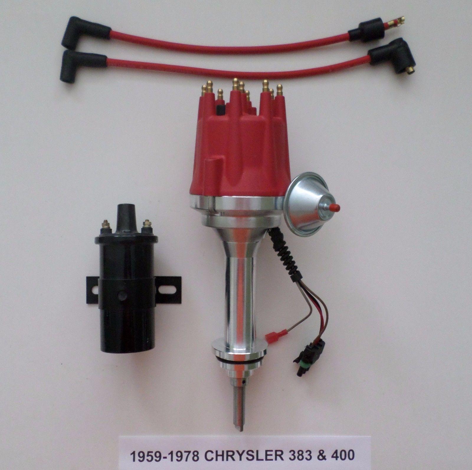 small cap RED BIG BLOCK CHRYSLER 383 400 PRO SERIES HEI Distributor Black  45K Volt Coil